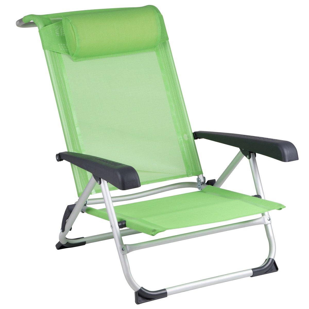 Strandstuhl platzsparend zusammenklappbar mit Kopfkissen in grün • Klappsessel Campingstuhl Klappstuhl Faltstuhl Angelstuhl Stuhl Sitz