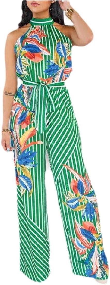 omniscient Women Fashion Halter Wide Leg Jumpsuit Casual Floral Print Rompers Pants