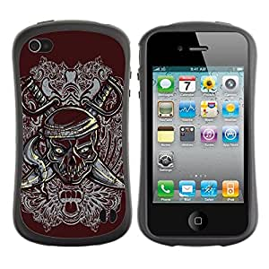 Fuerte Suave TPU GEL Caso Carcasa de Protección Funda para Apple Iphone 4 / 4S / Business Style Pirate Skull & Swords Crest