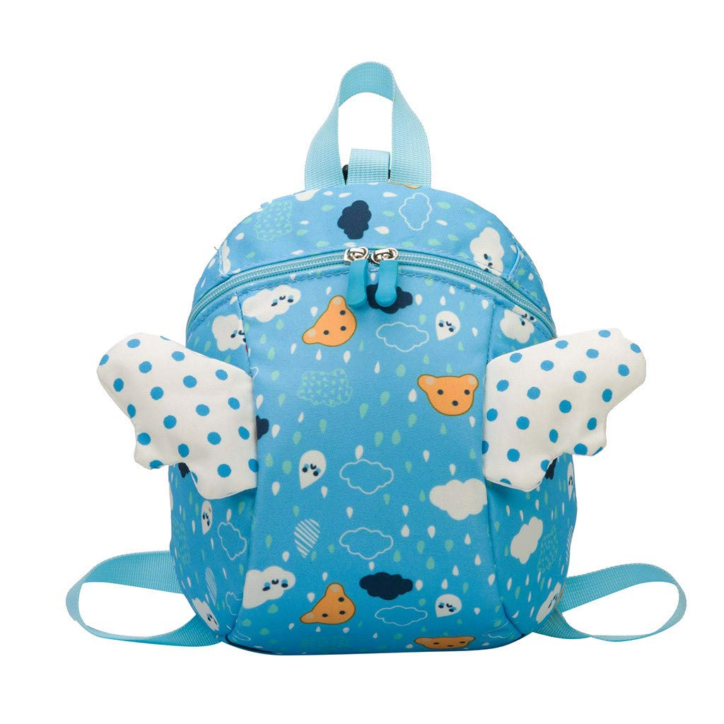 Clearance Sale!Jiayit Children's Bag Fashion Cute Lovely Light With Traction Rope Kindergarten Schoolbag Small Wings Cartoon Backpack (Blue)