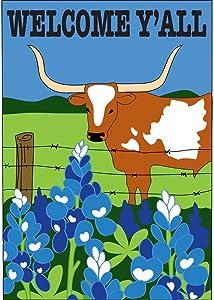 Magnolia Garden Welcome Yall Longhorn Bluebonnets 42 x 29 Rectangular Double Applique Large House Flag