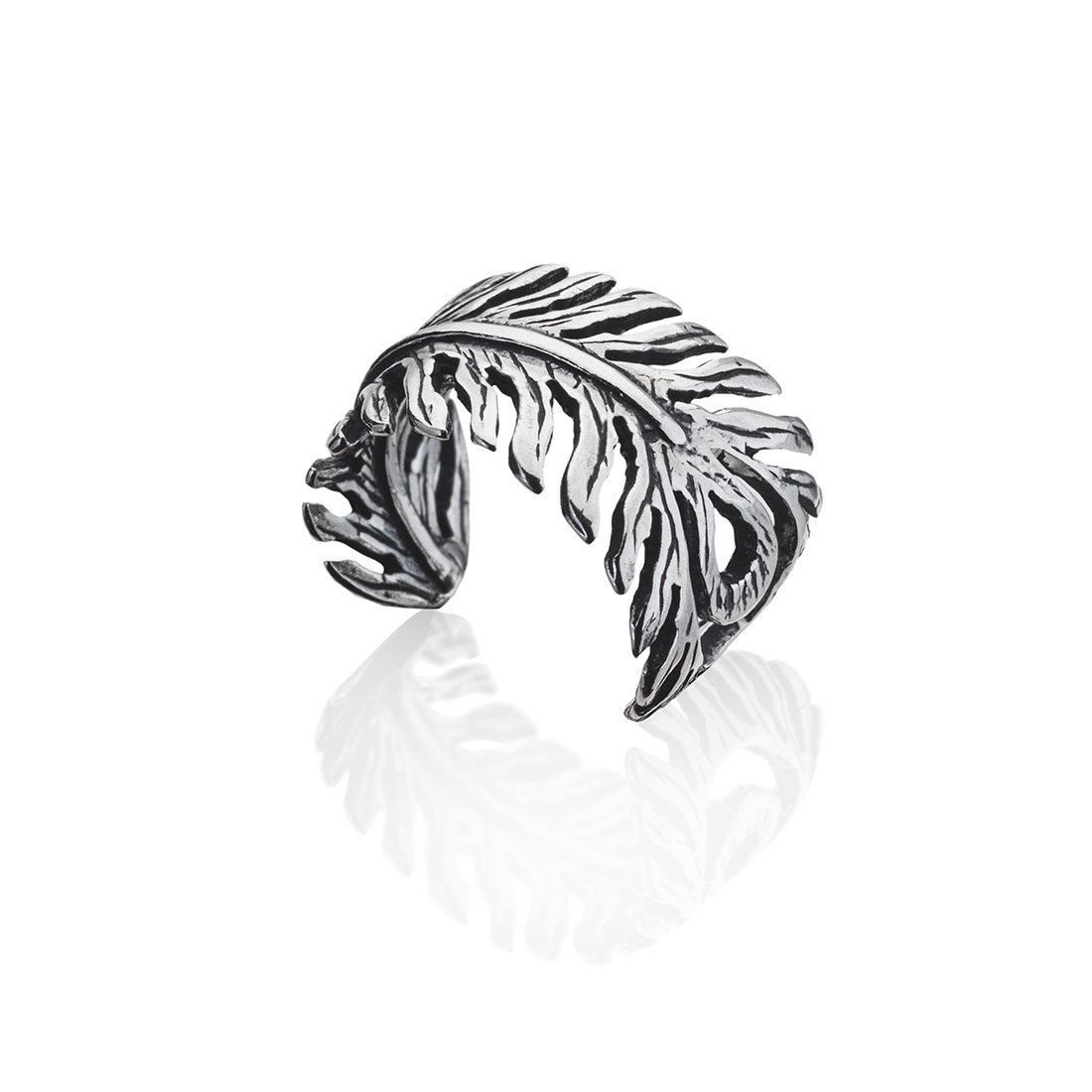 Sampson Ear Cuff - Feather Sterling Silver - Fake Piercing - Fake Conch Piercing - Non Pierced Conch Cuff