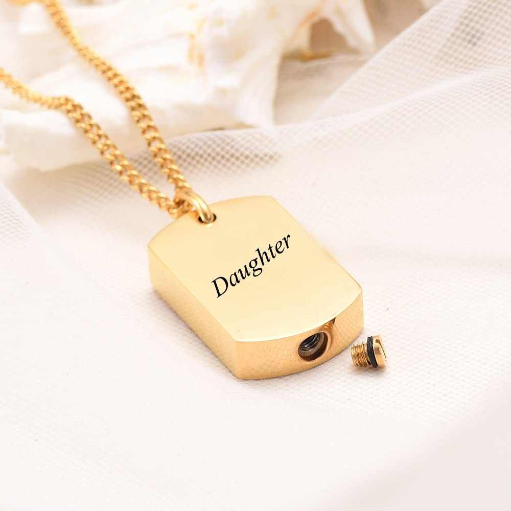 Daughter Yinplsmemory Jewelry Engravable Dog Tag Cremation Necklace Ashes Urn Pendant Keepsake