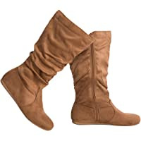 Olivia K Womens Low Heel Mid-Calf Slouchy Suede Slip On Casual Boots with Side Zipper