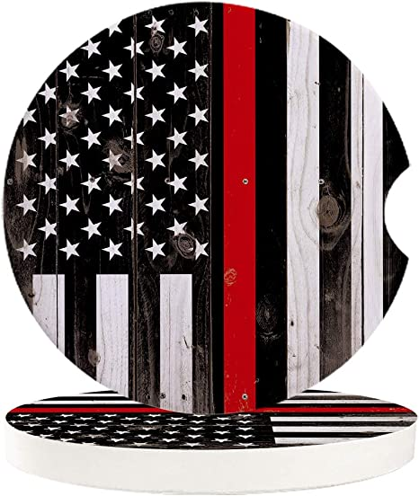 Amazon Com Car Drinks Coasters Set Of 2 Pack American Thin Red Line Usa Flag Absorbent Ceramic Stone Firefighters Coaster With A Finger Notch For Easy Removal From Auto Cupholder Kitchen Dining