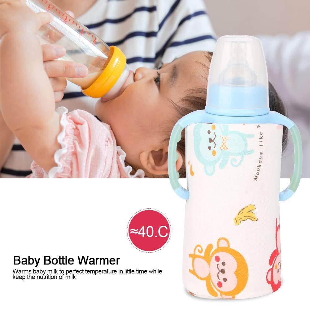 Blue Baby Milk Heating Bottle Warmer USB Heater Portable Milk Travel Cup Thermostat for Keep Baby Milk Water Warm Multifunction Coffee Tea Mug Beverage Warming Bag