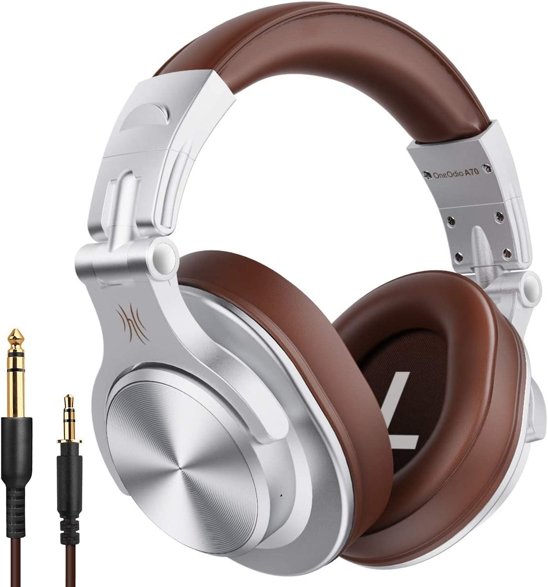 Professional Adapter-Free Monitor Recording /& Mixing Headphones with Stereo Sound for Electric Drum Piano Guitar Amp OneOdio A71 Wired Over Ear Headphones Silver Studio Headphones with SharePort