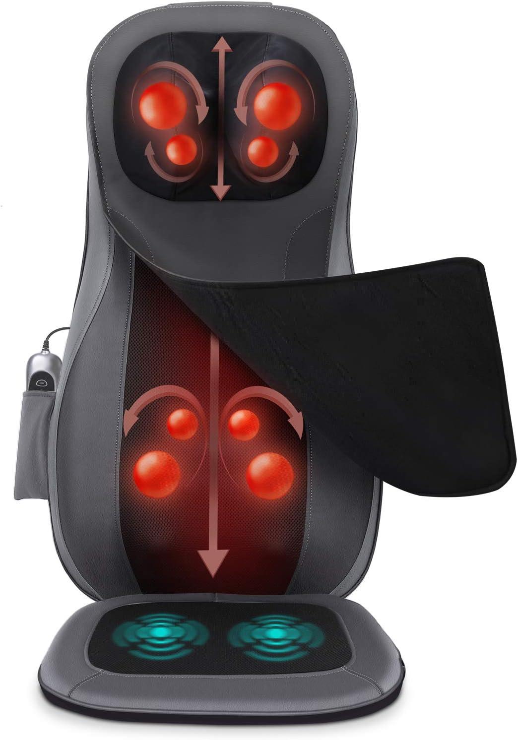 Naipo Back and Neck Massager Shiatsu Massage Chair Seat Cushion with Heat Rolling Kneading Vibration