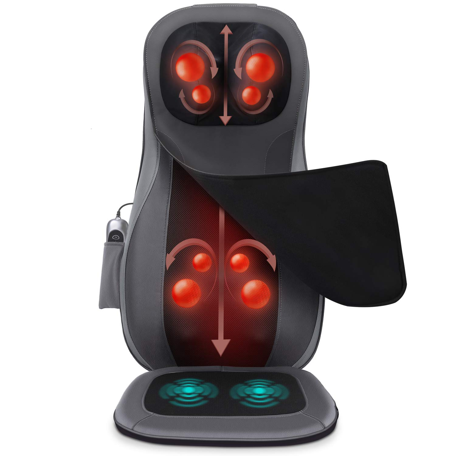 Naipo Back and Neck Massager Shiatsu Massage Chair Seat Cushion with Heat Rolling Kneading Vibration for Pin-Point Full Body at Office, Home, Car