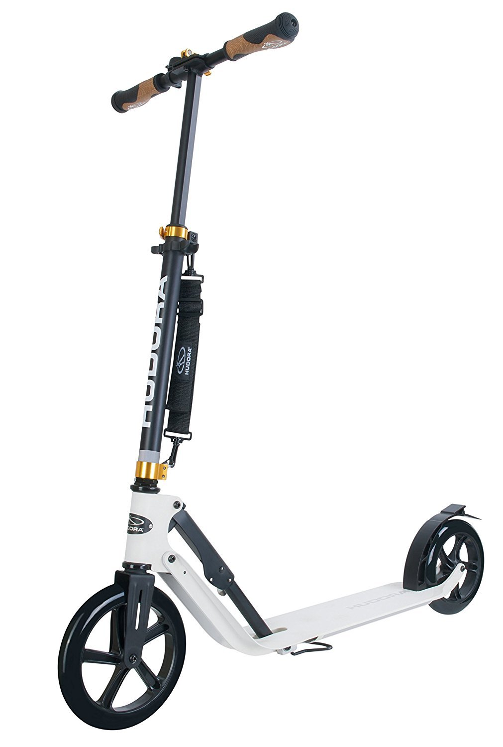 HUDORA 230 Adult Scooters Foldable Adjustable Kick Scooter Aluminum outdoor use (White) by HUDORA