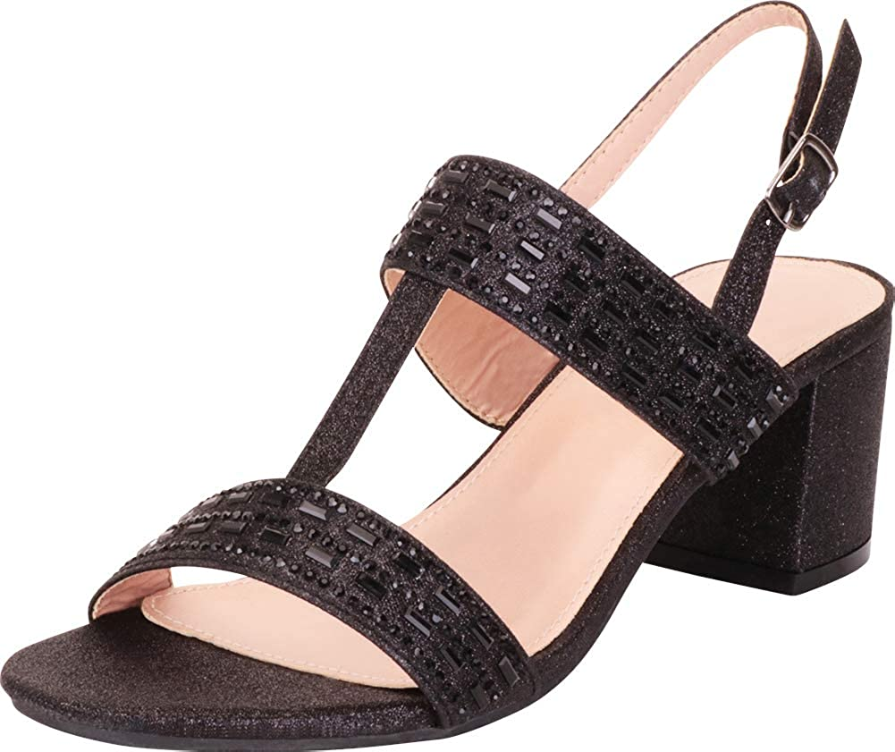 Black Glitter Cambridge Select Women's T-Strap Crystal Rhinestone Slingback Chunky Block Heel Dress Sandal