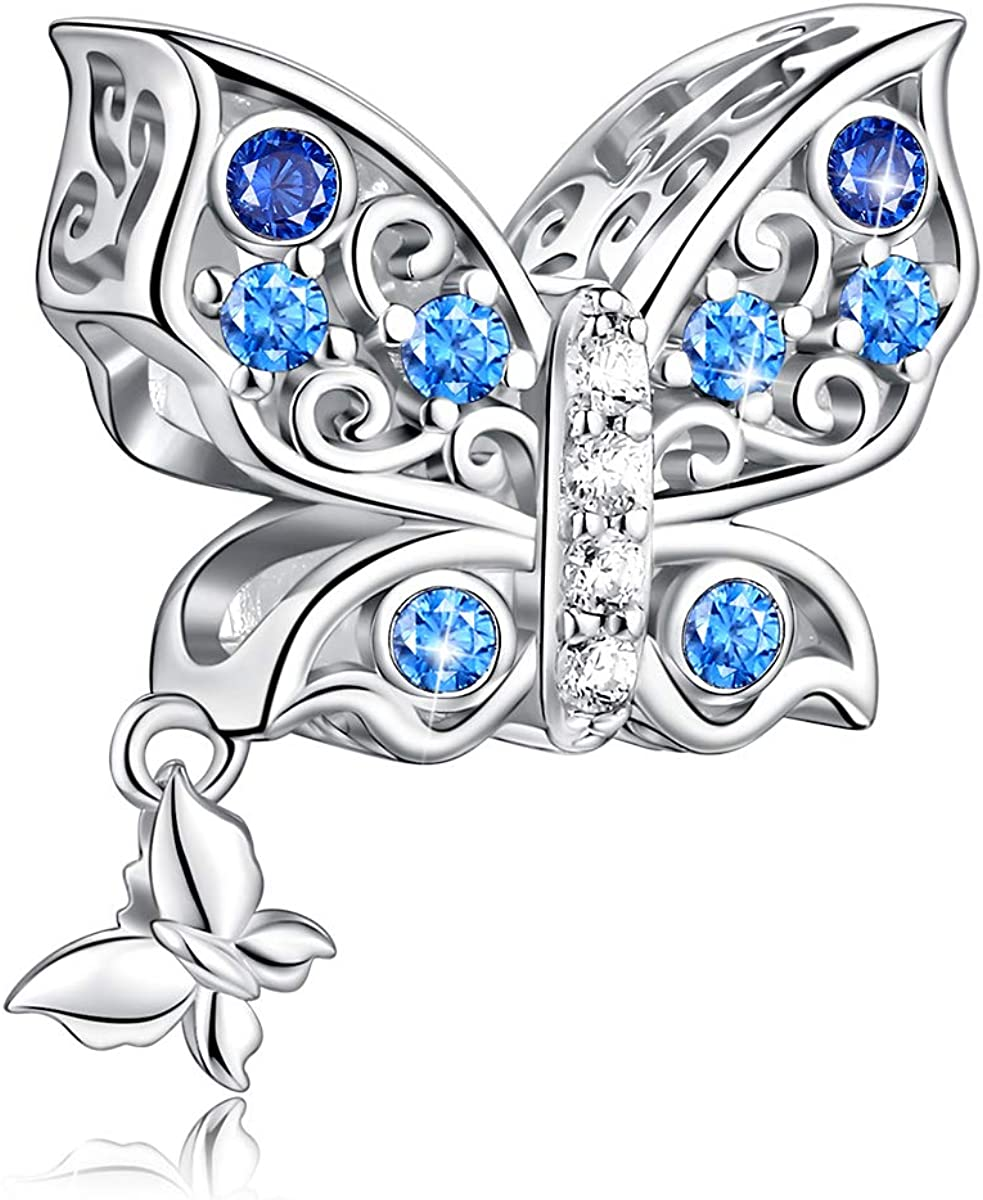FOREVER QUEEN Butterfly Charms fit Charms Bracelet 925 Sterling Silver Butterfly Bead Charms for Bracelet and Necklace Jewelry Gift with Gift Box