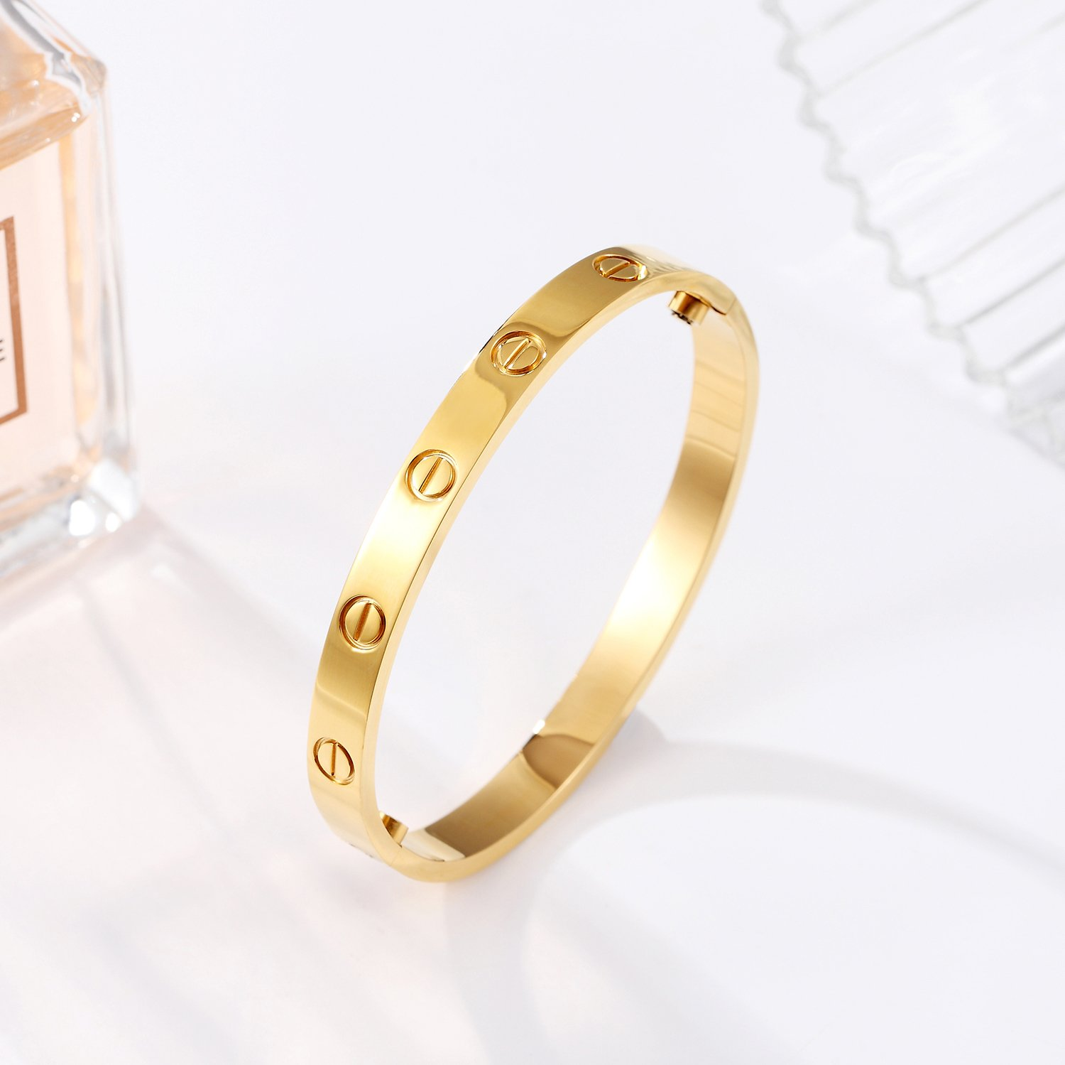 Z.RACLE Love Bangle Bracelet Stainless Steel Screw - Best Gift Love - 6.3IN Gold by Z.RACLE (Image #2)