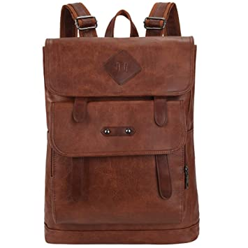 8eb2b051fe63 Image Unavailable. Image not available for. Color  VBG VBIGER Mens PU  Leather Backpack Vintage Laptop Backpack School Bookbag ...