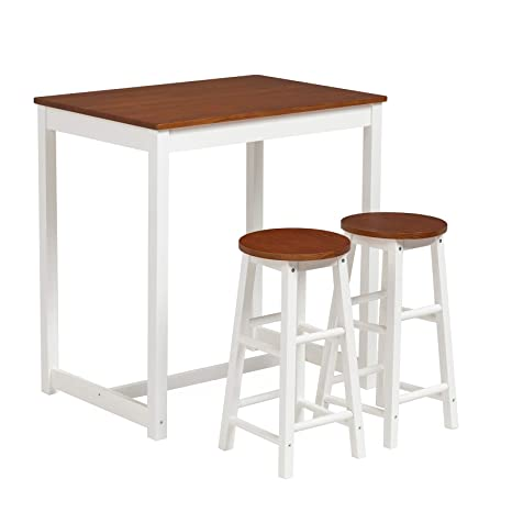 Amazon.com: Mecor - Juego de mesa y 2 taburetes de cocina (3 ...