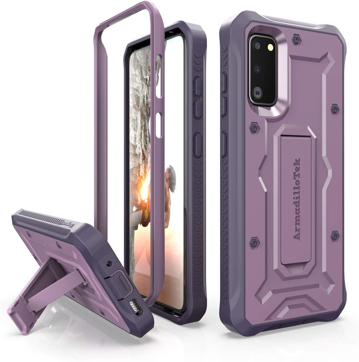ArmadilloTek Vanguard Designed for Samsung Galaxy S20 Case (2020 Release) Military Grade Full-Body Rugged with Built-in Kickstand - Purple