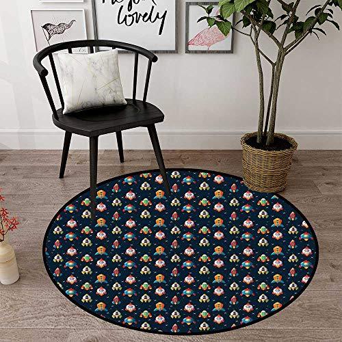 Round mat for Door Entrance Indoor Round Indoor Floor mat Entrance Circle Floor mat for Office Chair Wood Floor Circle Floor mat Office Round mat for Living Room Pattern 2' Diameter ()