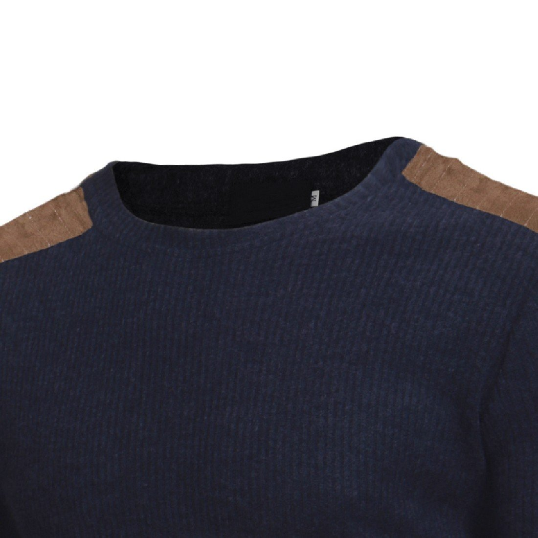 XiaoShop Men Solid Patched Long Sleeve O-neck Pullover Sweaters Knitwear