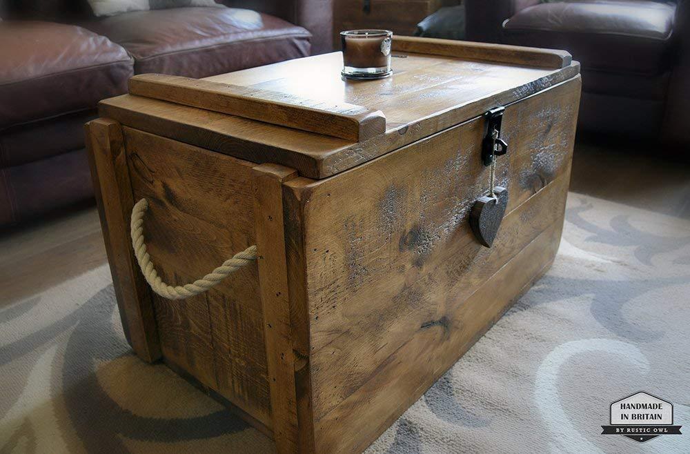 Rustic Wooden Chest Trunk Amazon Co Uk Handmade