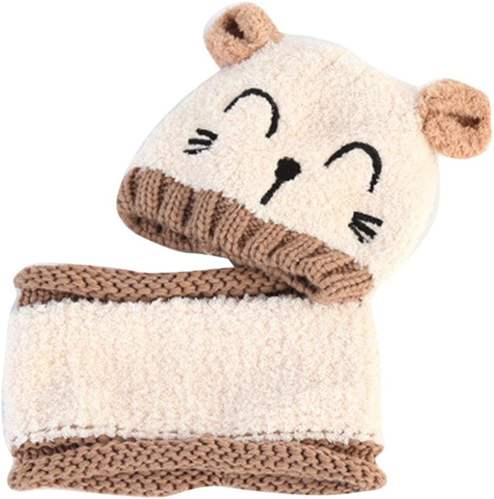 Kfnire Kids Winter Hat and Scarf Set Warm Knit Hat Thick Knit Cap for Child Soft Wool Lining