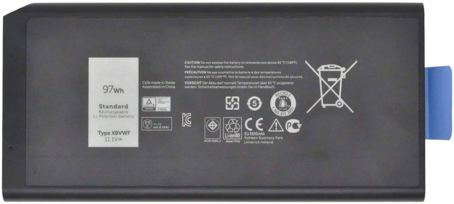 Fully X8VWF Replacement Battery Compatible with Dell Latitude 14 Rugged 5404 5414 E5404 Extreme 7404 7414 E7404 Series Laptop CJ2K1 VCWGN 0VCWGN YGV51 DKNKD XN4KN XRJDF 0W11V7 453-BBBE -11.1V 97Wh
