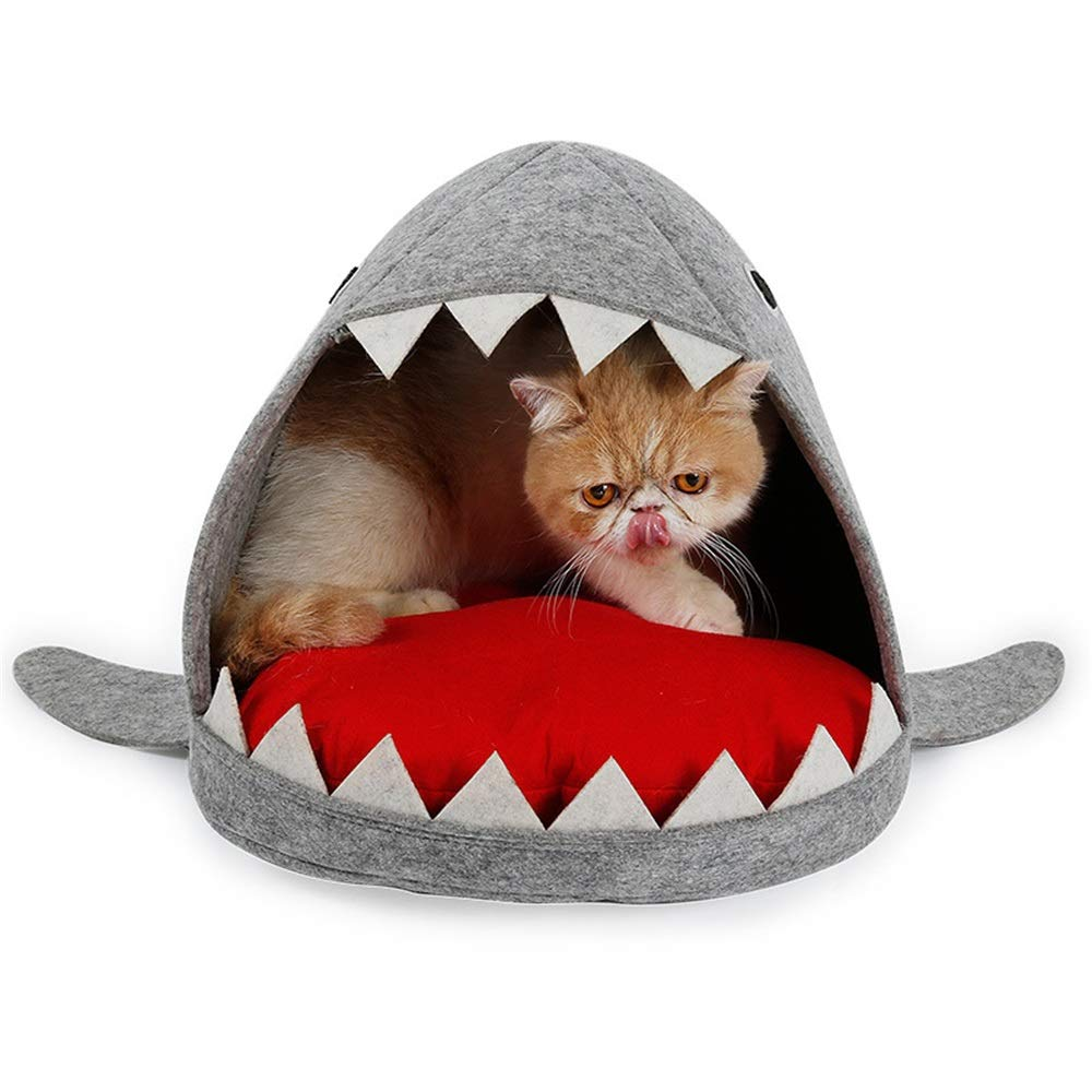 Liuxiaoqing Pet Bed for Cats Small Dogs Shark shape pet nest to keep warm Cold predection Cat and dog bed with Removable Cushion Mat Soft Comfy Washable