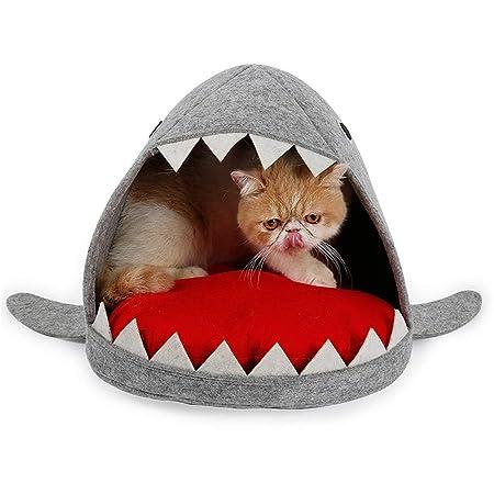 Cama de mascotas para gatos pequeños perros Forma de tiburón, nido ...