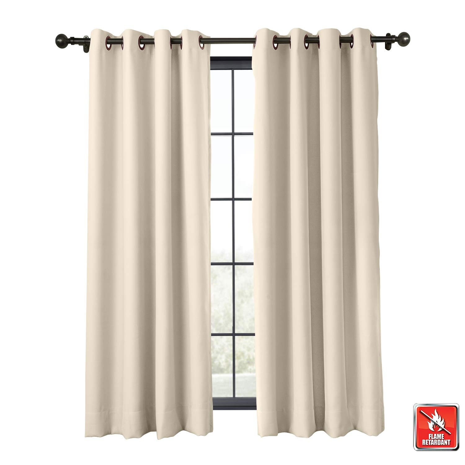 1 Panel Flame Retardant Curtain Antique Bronze Grommet Eyelet Greyish White 46W x 72L Inch Thermal Insulated Blackout ChadMade Exclusive