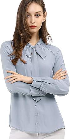 Allegra K Camisa Casual con Botones Manga Larga Corbata De Lazo ...