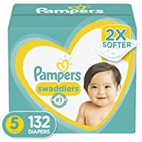 Diapers Size 5, 132 Count - Pampers Swaddlers Disposable Baby Diapers, ONE MONTH...