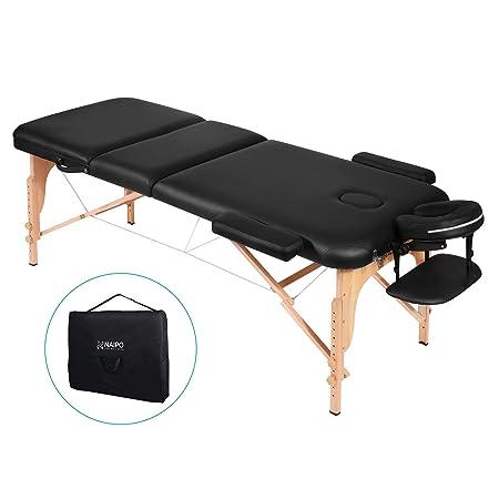 Naipo Massageliege Massagetisch Massagebett Massagestuhl mit 3 Zonen tragbaren höhenverstellbaren Holzfüßen Einfache Installa