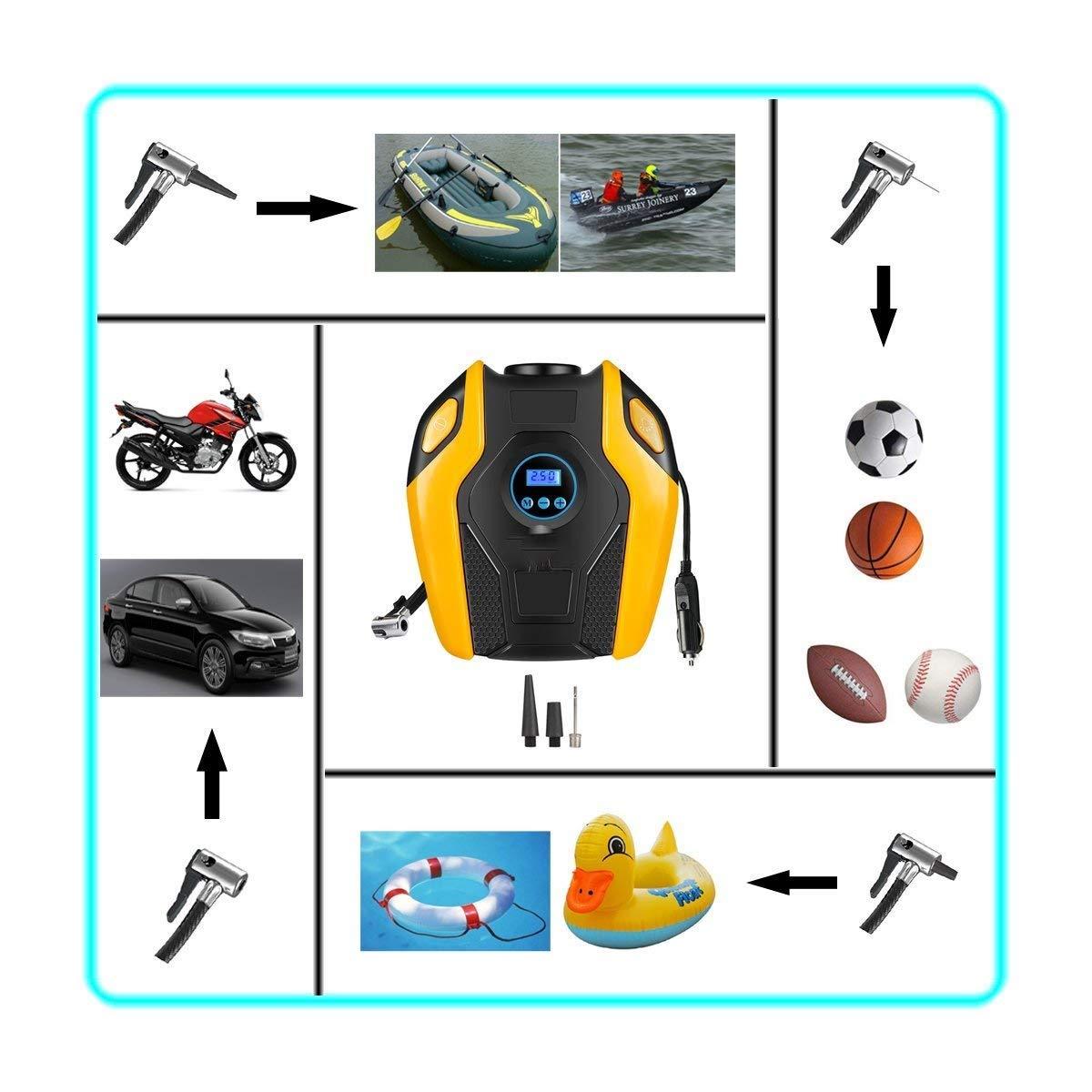XYEU Compresor de Aire El/éctrico Port/átil Digital Inflador de Neum/áticos Autom/óvil 12V 25L//Min 120W con Pantalla LCD y luz LED 150 PSI Apto para Hinchar Neum/áticos de Moto Coche y Bicicleta