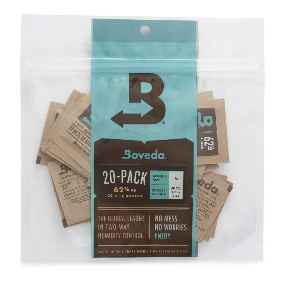 Boveda 62% RH 1 Gram, Patented 2-Way Humidity Control, (1) 20-Pack, Unwrapped Boveda, Resealable Bag, Stores/Keeps Fresh 3.5 oz Flower. Terpene Protector, Drier Climates Higher Altitudes by Boveda