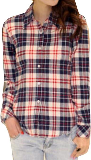Highdas Mujer Camisa Tartán Franela Camiseta Casual de Manga Larga del Escote V de La Túnica Camisas Blusas