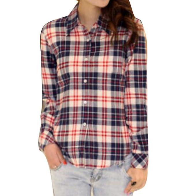 Camisa Cuadros Mujeres - Blusas Manga Larga Tops Cásicos Tshirt Botón Abajo Camiseta Diariamente Casual 7