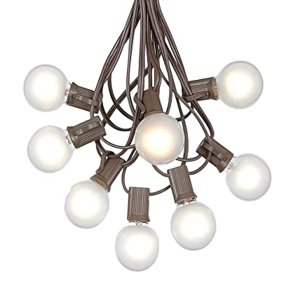 G40 Patio String Lights With 25 Frosted Globe Bulbs   Hanging Garden String  Lights   Vintage