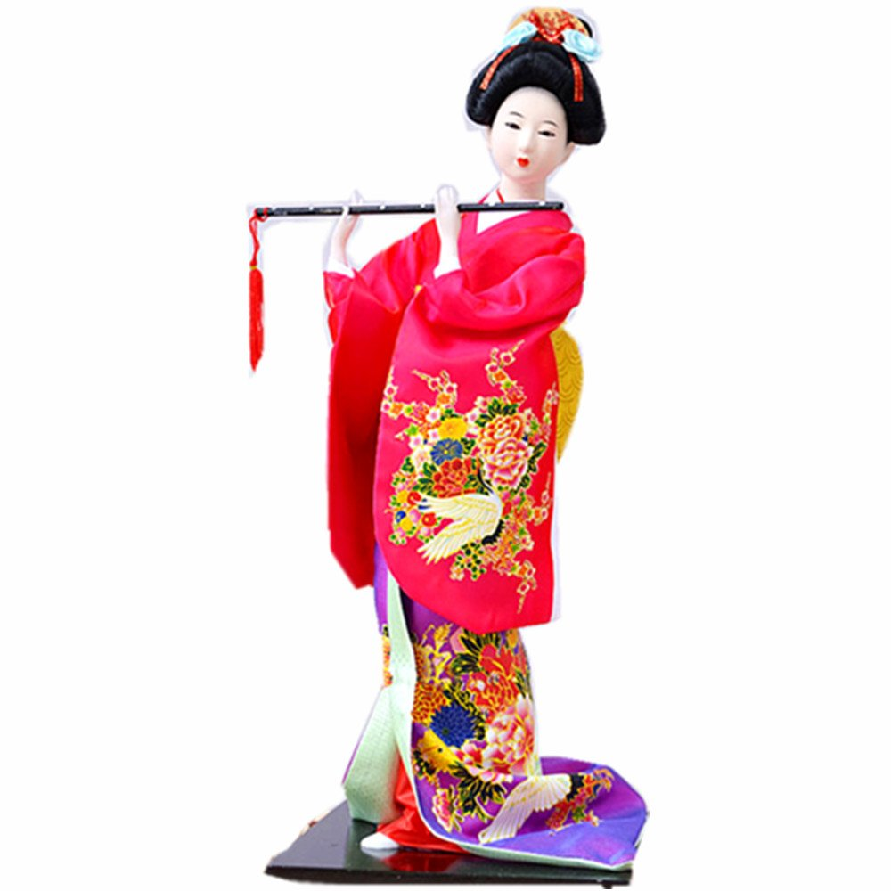 "JG.Betty 16"" 43cm Japanese Folk Kimono Geisha Doll Maiko Doll Puppet Stand on Base for Decorative Home and Hotel Gifts Doll(16 inch, Rose Red Doll JD022) by JG.Betty"