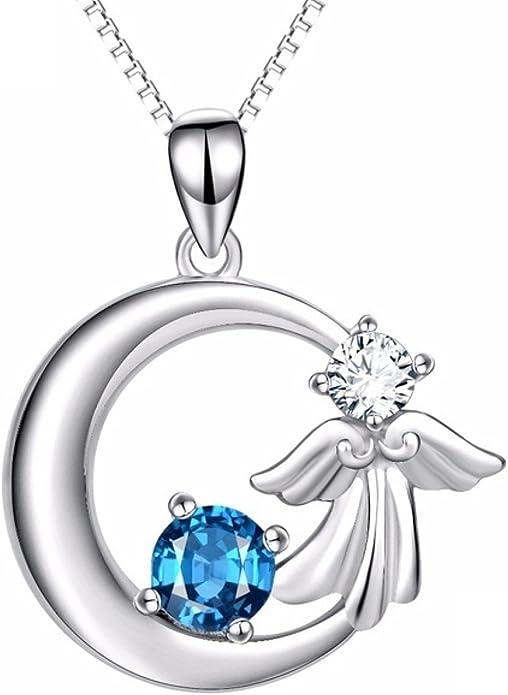 CS-DB Pendants Necklaces Silver Little Angel Moon Crystal CZ Fashion Jewelry Girls