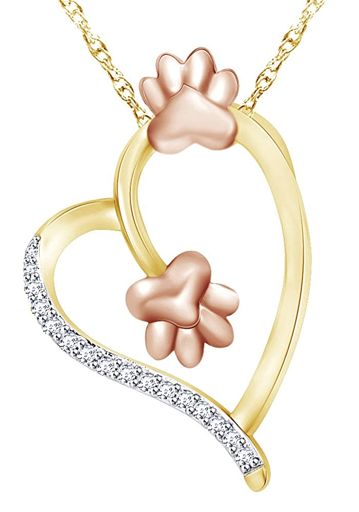 Wishrocks Round Cut White CZ Paw Print Heart Pendant Necklace in 925 Sterling Silver