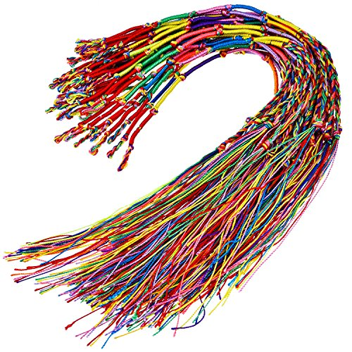 Hotop 30 Pieces Handmade Braided Bracelets Colorful Friendship Thread Bracelet for Wrist Ankle (Random Color)