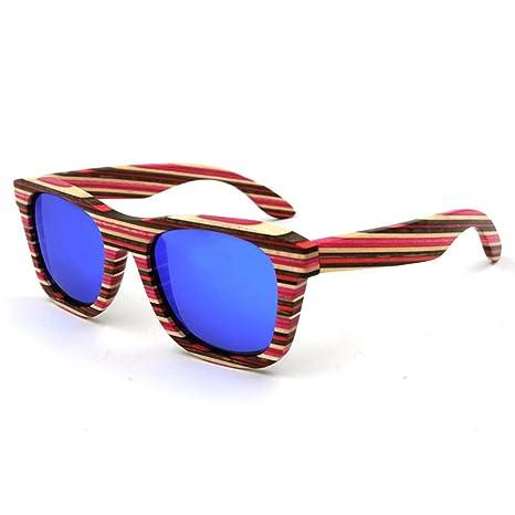 dfb Exquisito Rayas De Colores Gafas De Madera Gafas De Sol ...