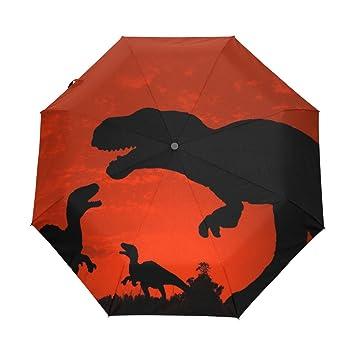 bennigiry silueta de dinosaurio Custom plegable sol lluvia paraguas resistente al viento resistente al viento paraguas