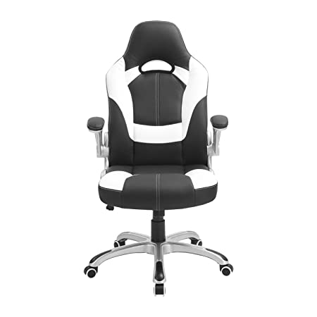 Computer Gaming Ergonomic Swivel Chair, High-Back Leather Adjustable Executive Office Chair with Flip-up Arms 300lb White