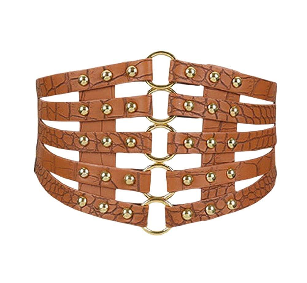 Oyccen Retro Hollow Wide Belt Waistband Elastic Dress Decoration Girdle Waist Cincher Corset
