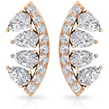 0.51 CT Pear Shaped SGL Certified Diamond Cartilage Earring, Antique Teardrop Curved Gold Conch Tragus Piercing Earring, Wome