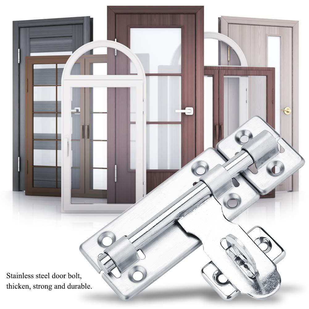 6寸 Slide Bolt Gate Latch Safety Door Lock Padlock Hole Dia Bar Heavy Duty Solid Stainless Steel Chrome Finish