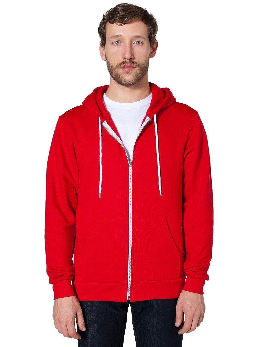 American Apparel Flex Fleece Zip Hoodie-Red
