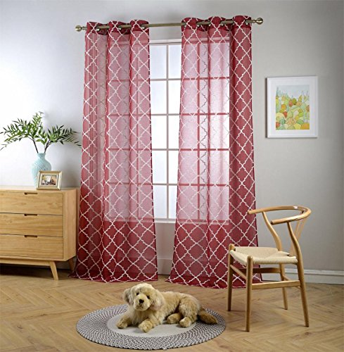 Miuco Sheer Curtains Embroidered Trellis Design Grommet Curtains 95 Inches Long for French Doors 2 Panels (2 x 37
