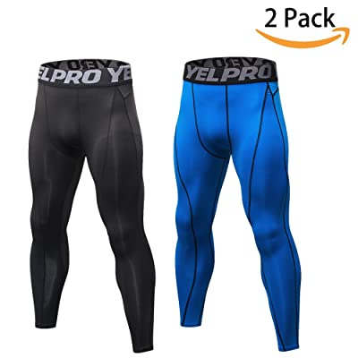 SILKWORLD Men's 2 pack Compression Pants Baselayer Cool Dry Sports Tights Leggings