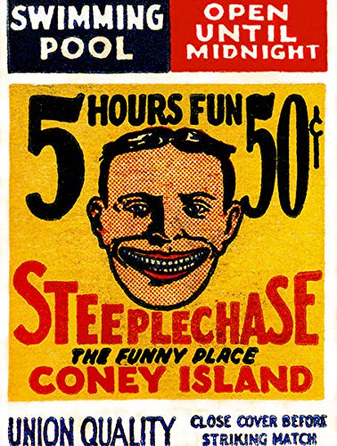 (USWay 188245 1920's Steeplechase Coney Island NY Matchbook Decor Wall 16x12 Poster Print)